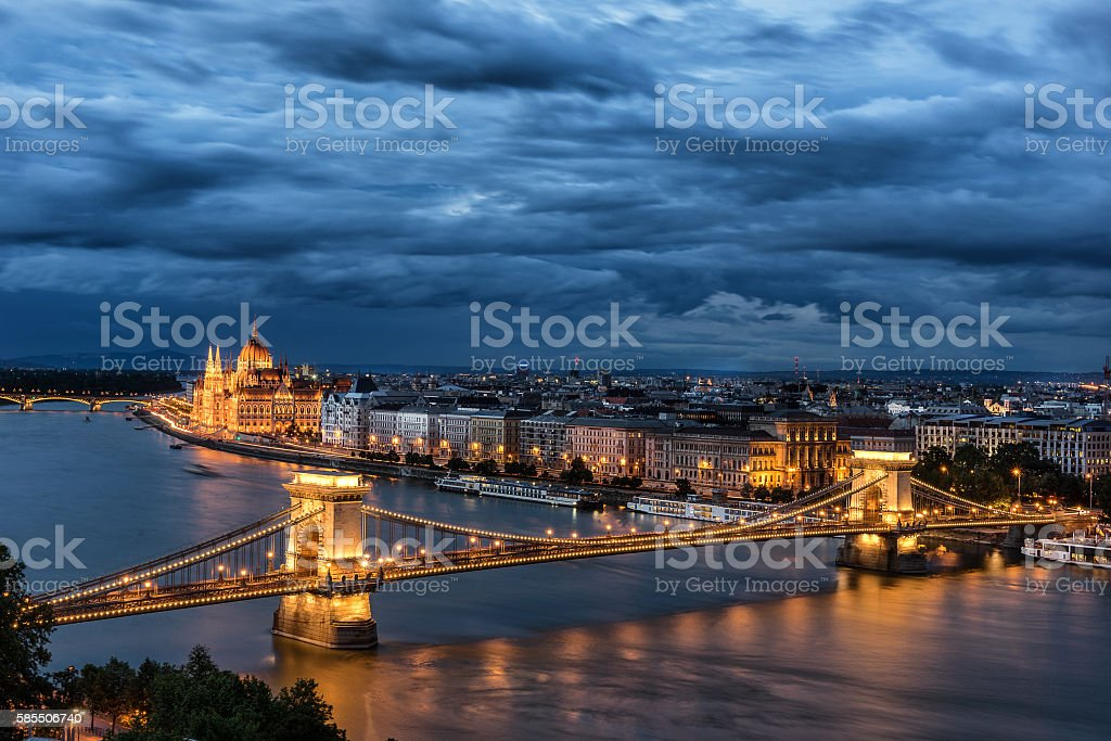 The Chain Bridge in Budapest stock photo