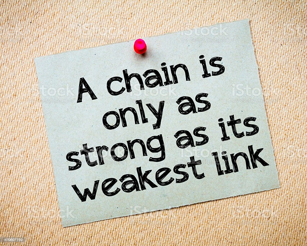 The chain is strong as its weakest link stock photo