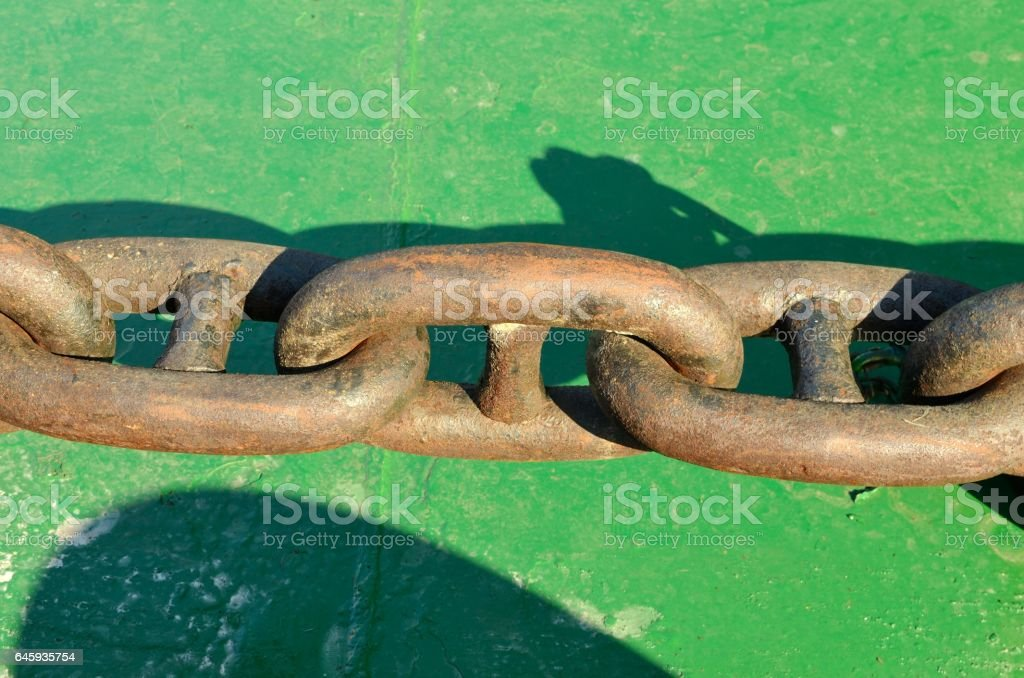 The chain that holds the anchor. stock photo