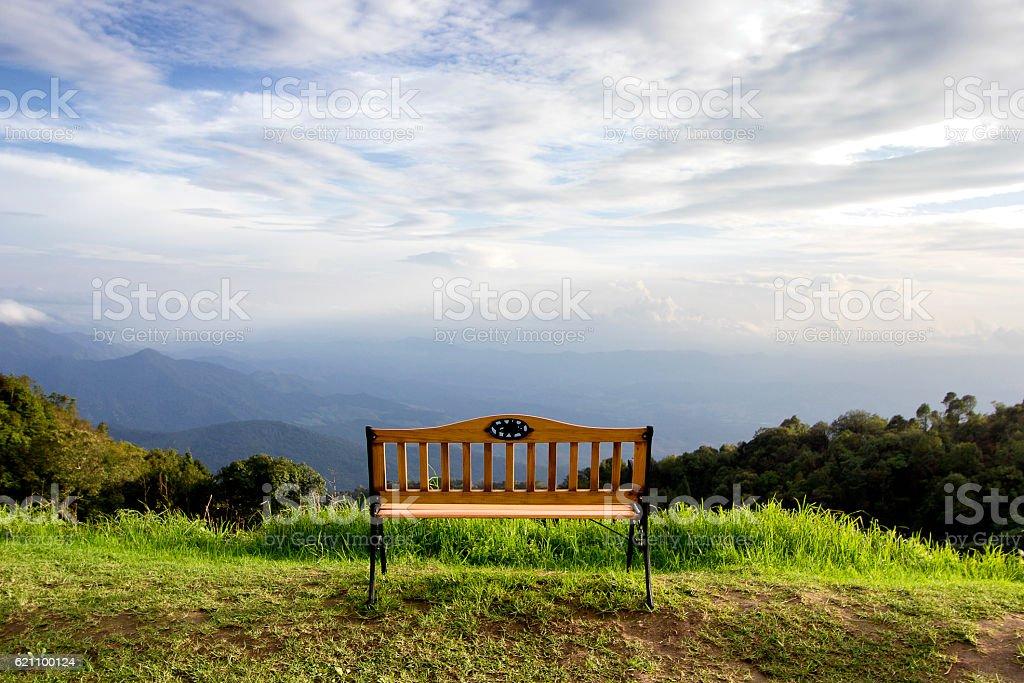 The chair on the mountain stock photo