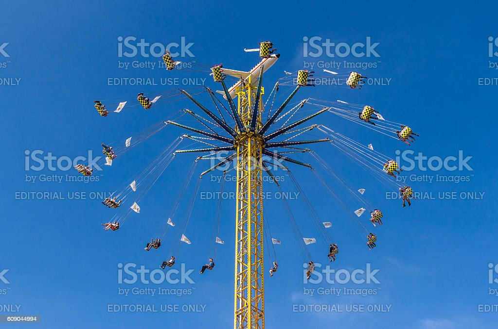 The chairoplane working at the Oktoberfest stock photo