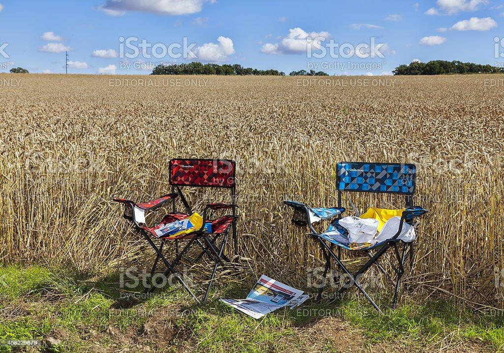 The Chairs of Spectators- Le Tour de France royalty-free stock photo