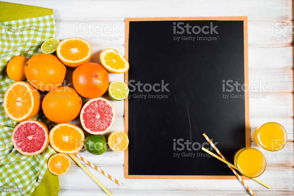the chalkboard with fresh citrus stock photo