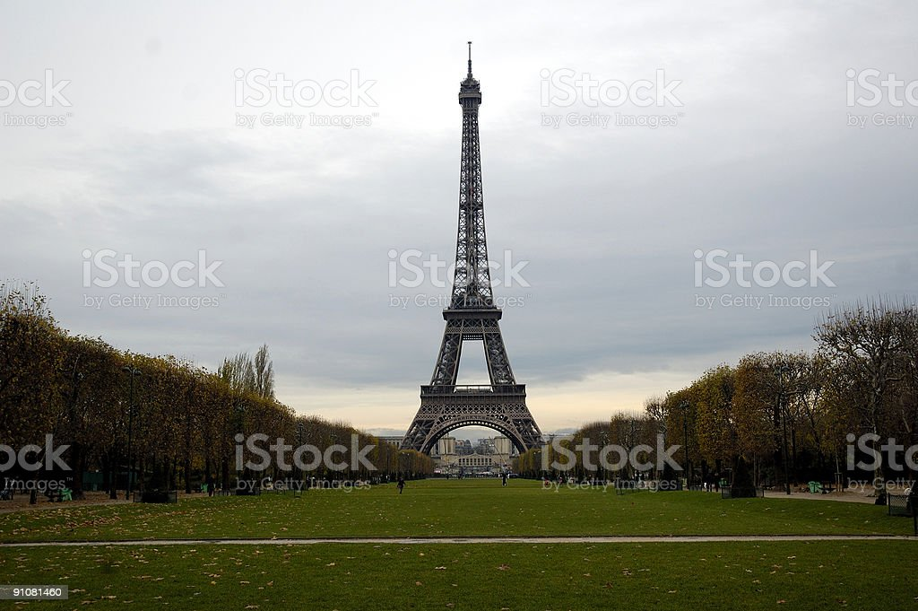 The Champ de Mars and Eiffel tower. royalty-free stock photo
