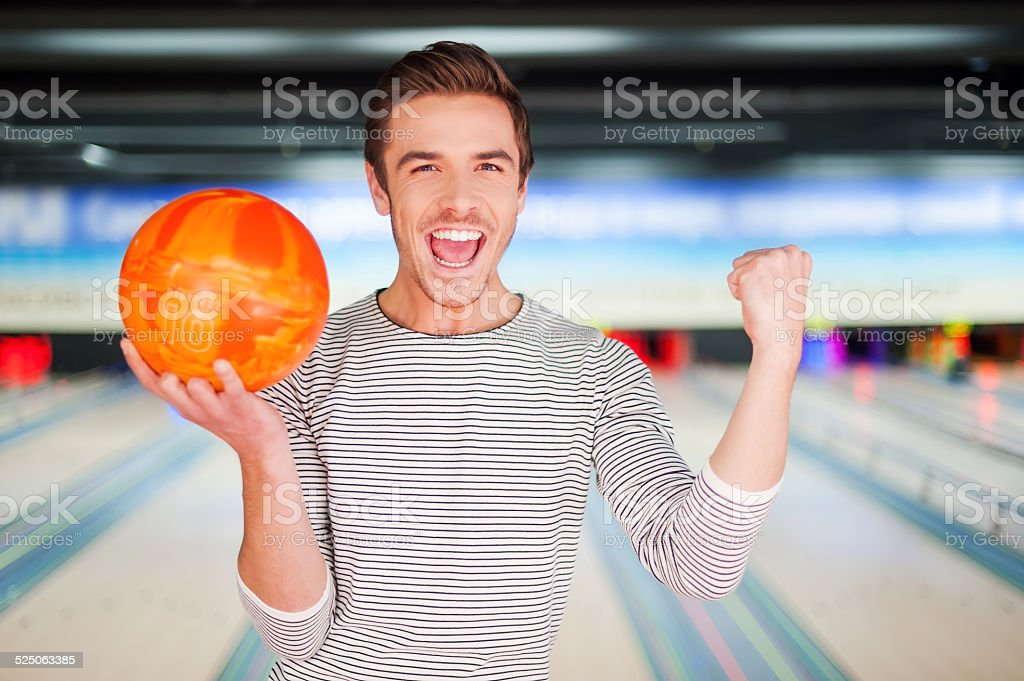 The champion of bowling. stock photo