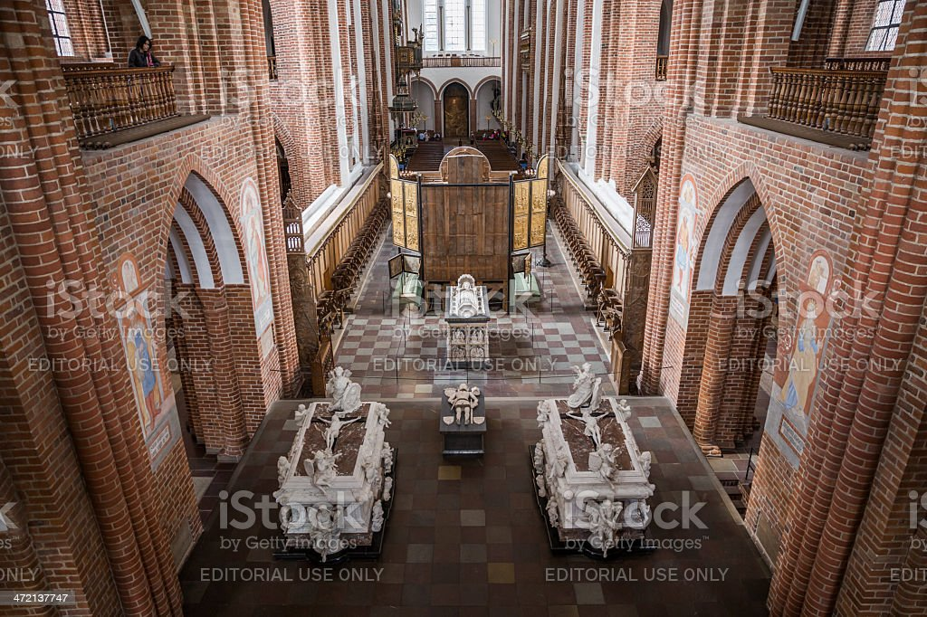 The chancel of Roskilde cathedral stock photo