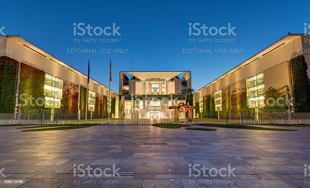 The chancellery in Berlin at night stock photo