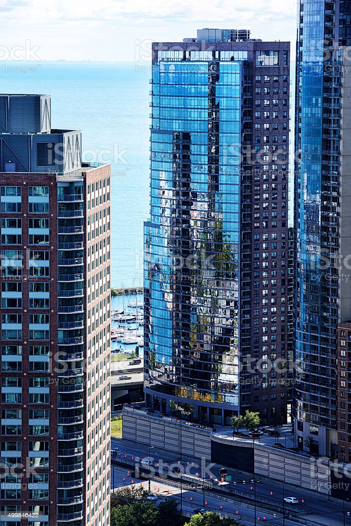 The Chandler  residential skyscraper, downtown Chicago stock photo