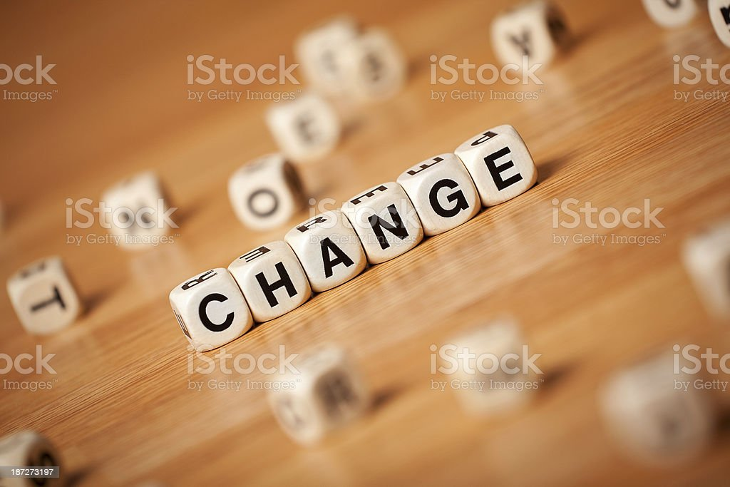 The Change Help Spelled In Letter Cubes royalty-free stock photo