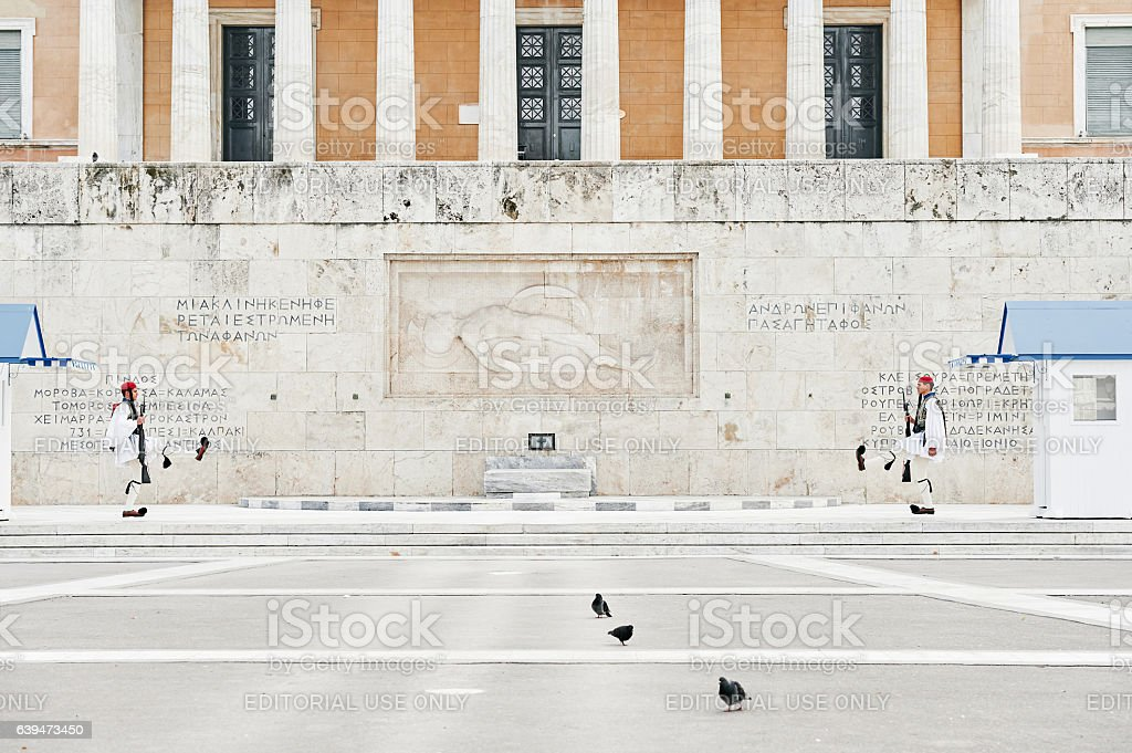 The changing of the honor Evzones guards ceremony stock photo