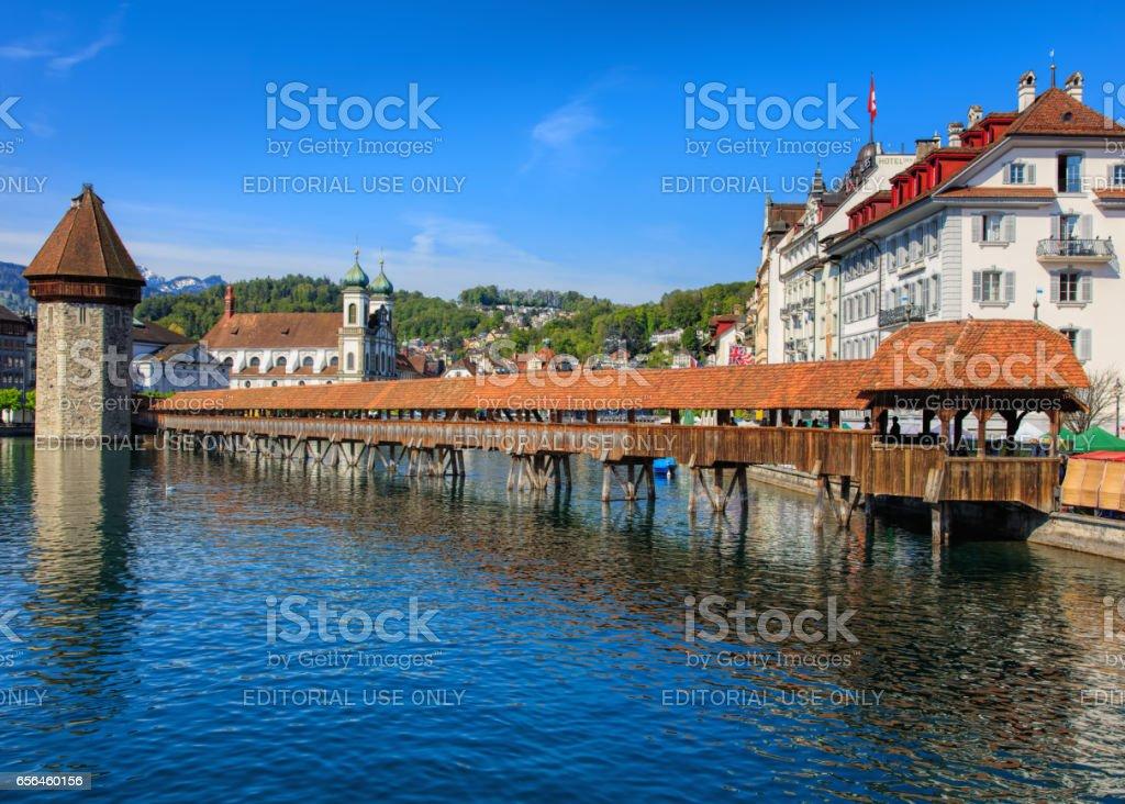 The Chapel Bridge in the city of Lucerne, Switzerland stock photo