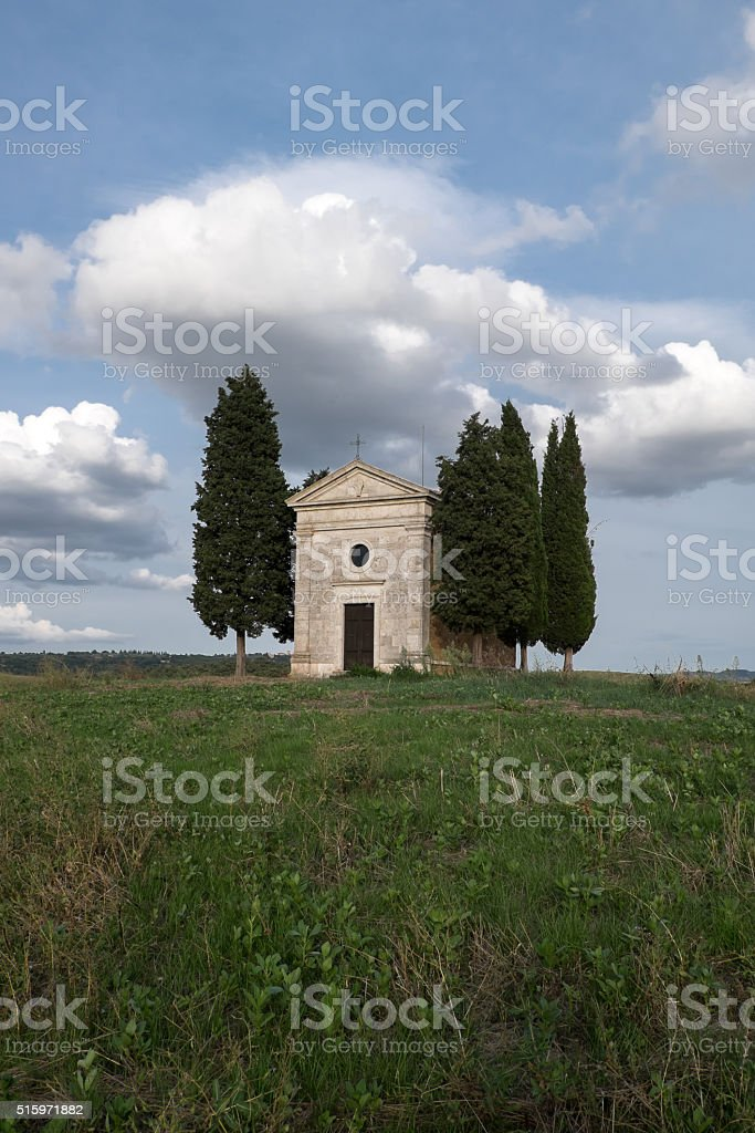 The chapel of Our Lady of Vitaleta stock photo