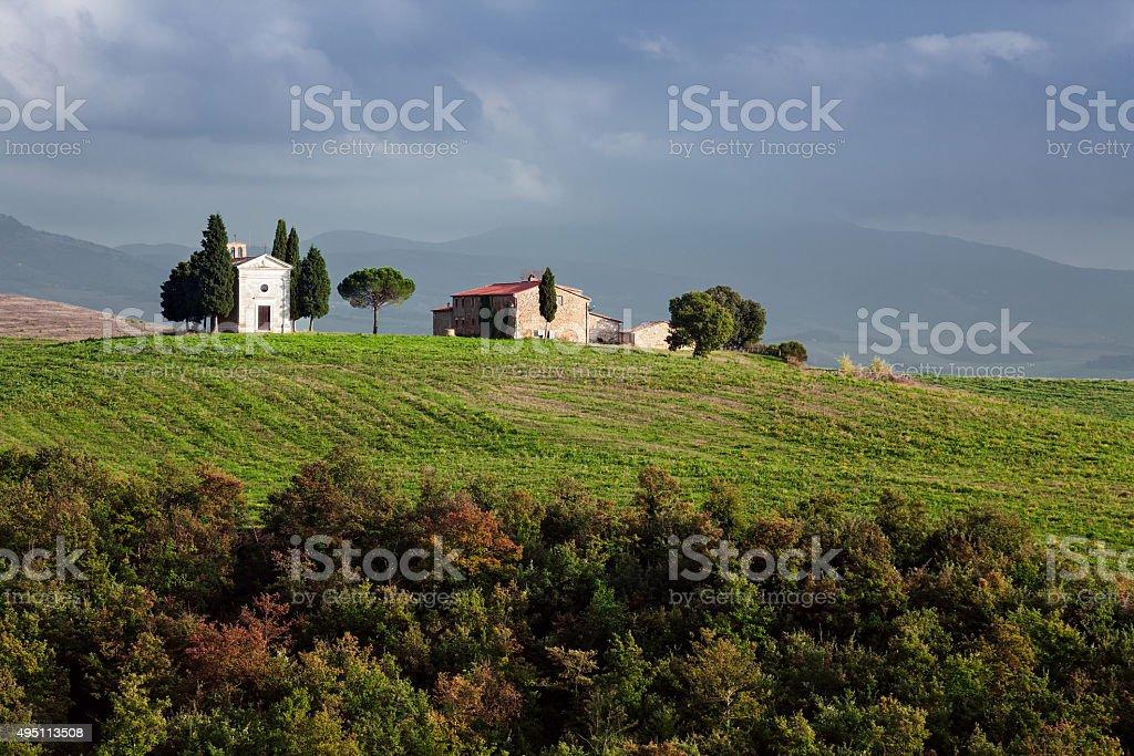 The chapel Vitaleta in Val d'Orcia, Tuscany stock photo