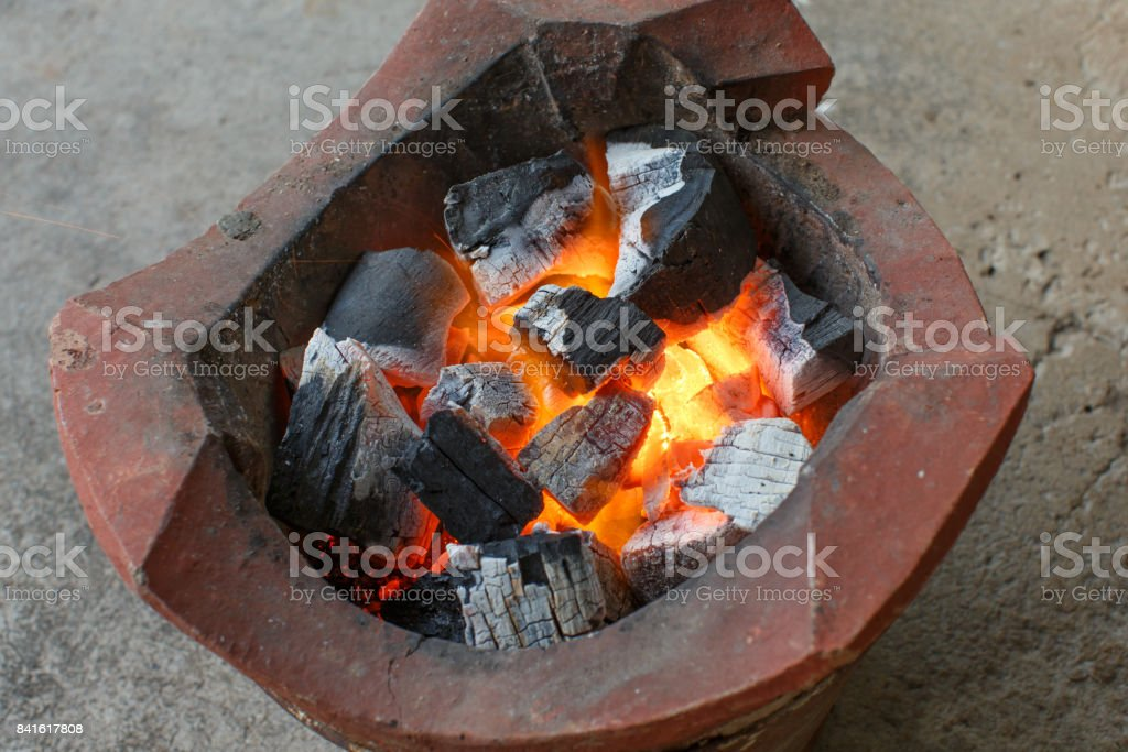The charcoal fire stock photo