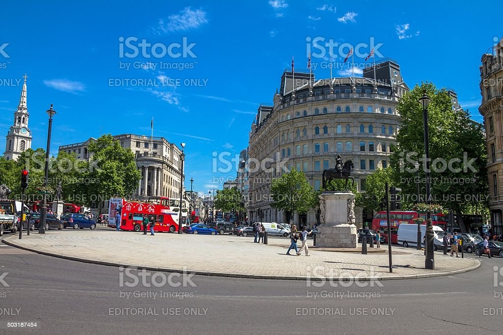 The Charing Cross with  equestrian statue of Charles I stock photo