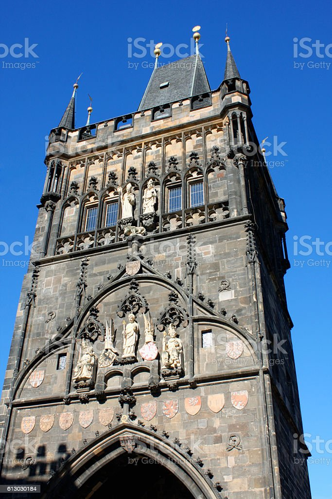 The Charles bridge is located in Prague, Czech Republic. stock photo