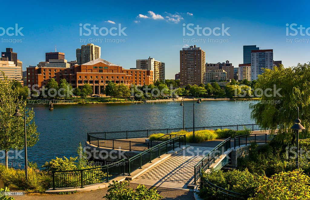 The Charles River at North Point Park in Boston, Massachusetts. stock photo