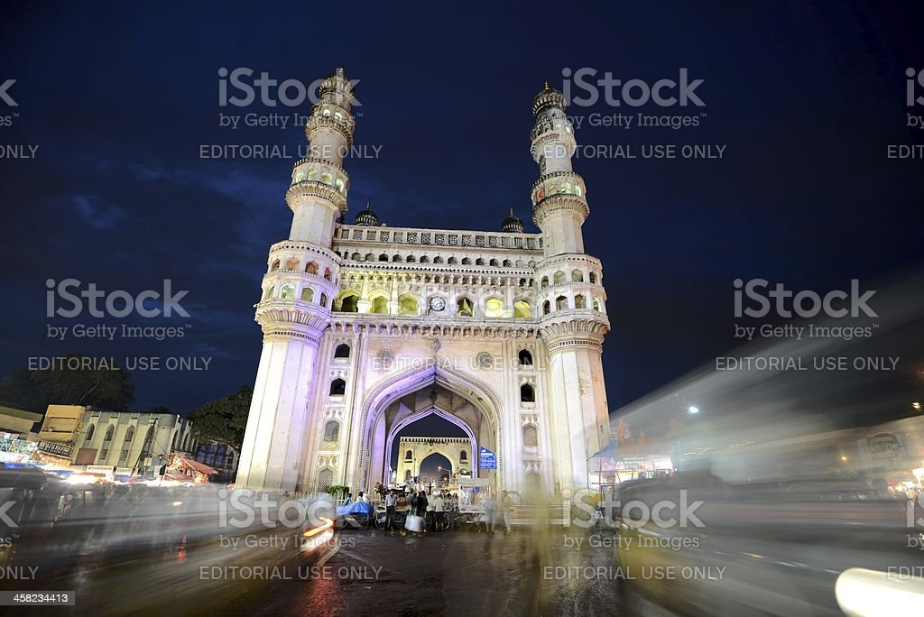 The Charminar after sunset stock photo