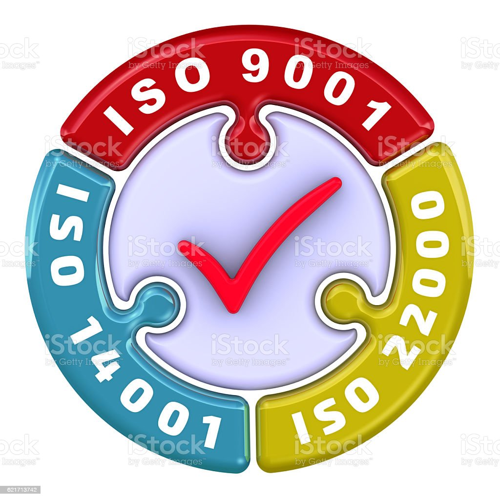 ISO 9001, ISO 14001, ISO 22000. The check mark stock photo