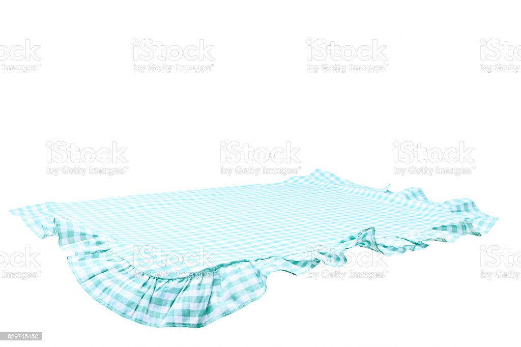 The checkered tablecloth isolated. stock photo