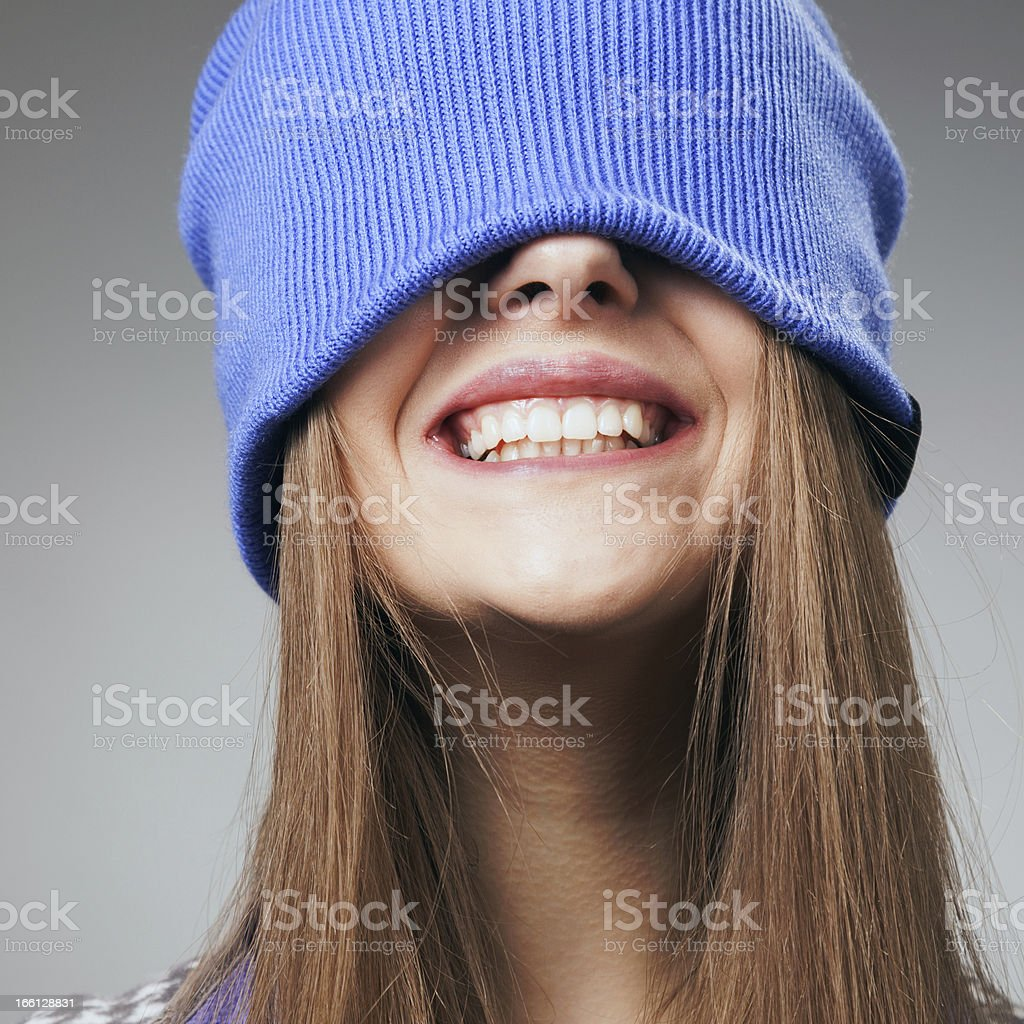 The cheerful girl laughs stock photo