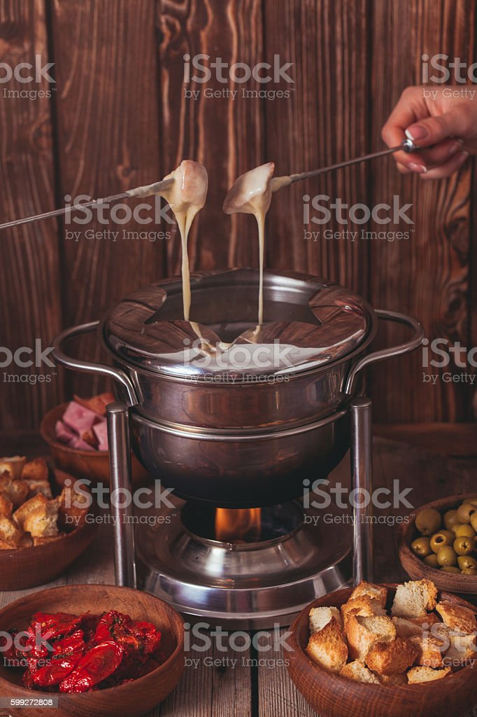 The cheese fondue stock photo