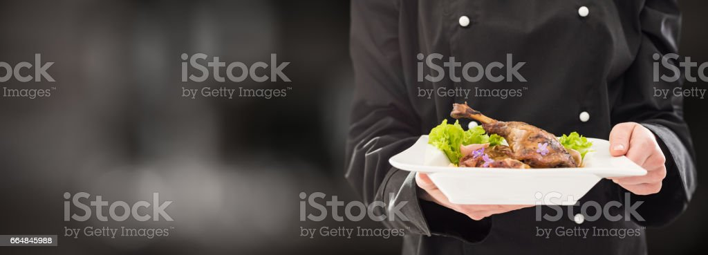 The chef keeps perfect made dinner. stock photo