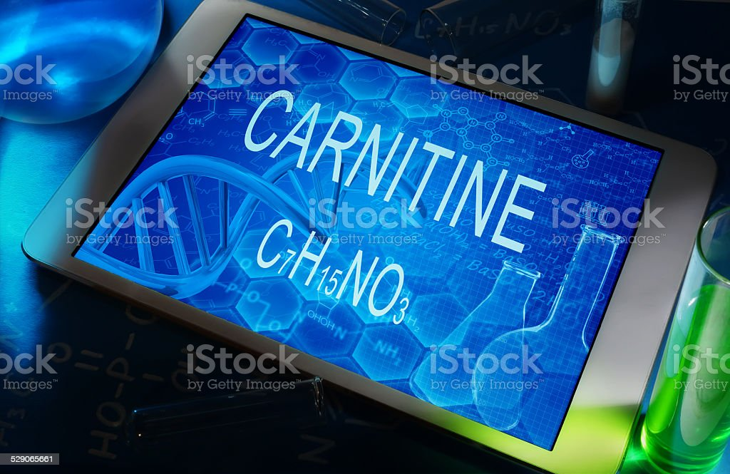the chemical formula of carnitine stock photo