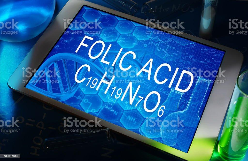the chemical formula of folic acid stock photo