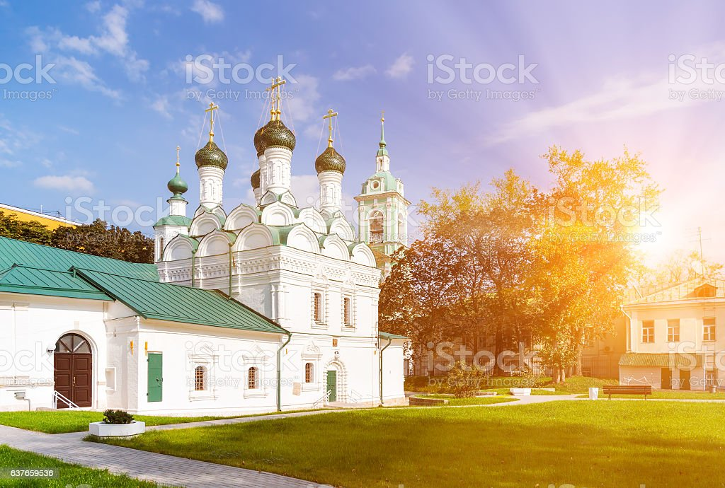 The Chernigov Martyrs church in Moscow stock photo
