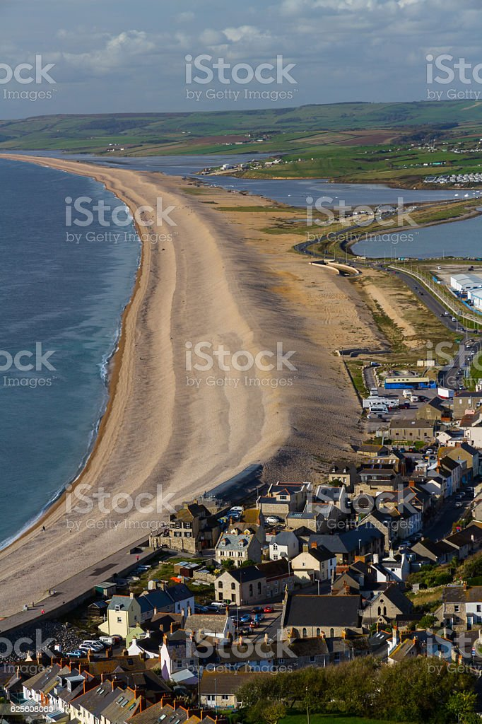 The Chesil Beach, seen from Portland Bill. stock photo