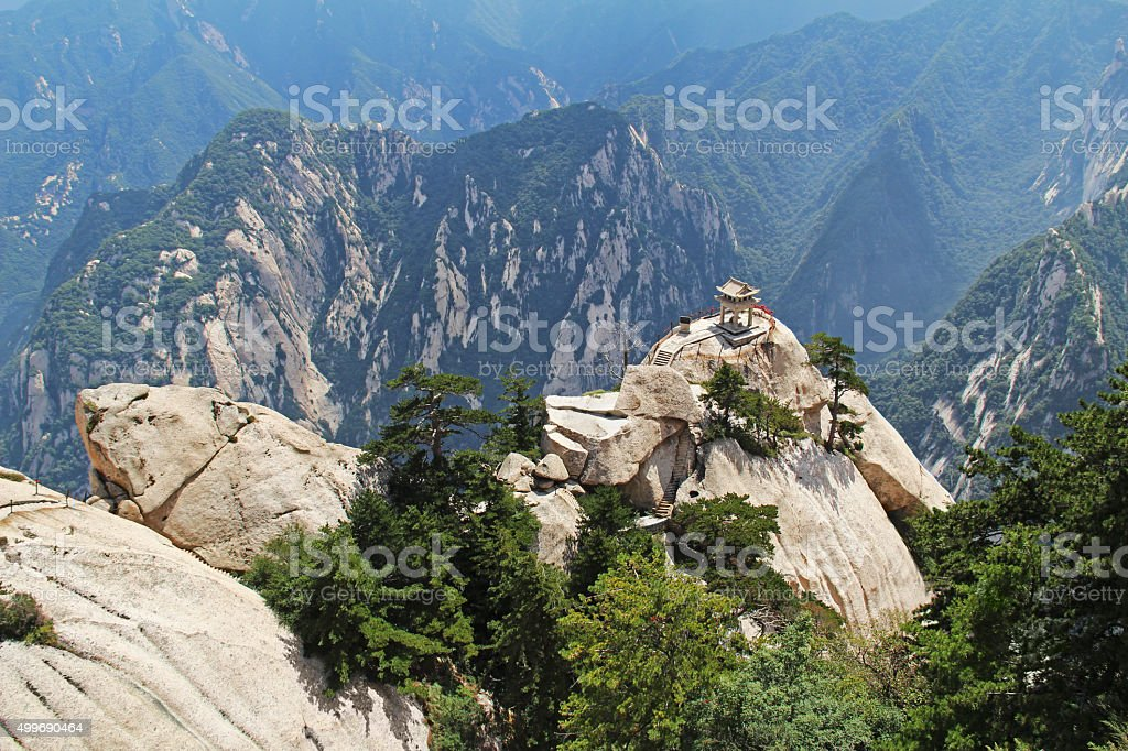 The chess pavilion in the mountains Huashan Mountain, China stock photo