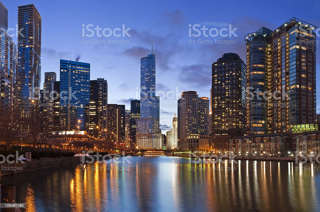 The Chicago Riverside at dusk with lights royalty-free stock photo