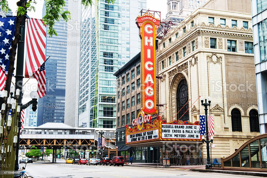 The Chicago Theatre on State Street royalty-free stock photo