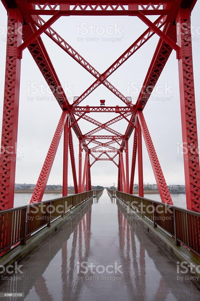 The Chikugo River (Fukuoka), vertical lift bridge stock photo