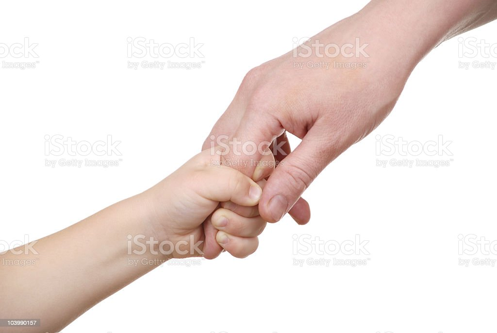 The child holds mum for a finger stock photo