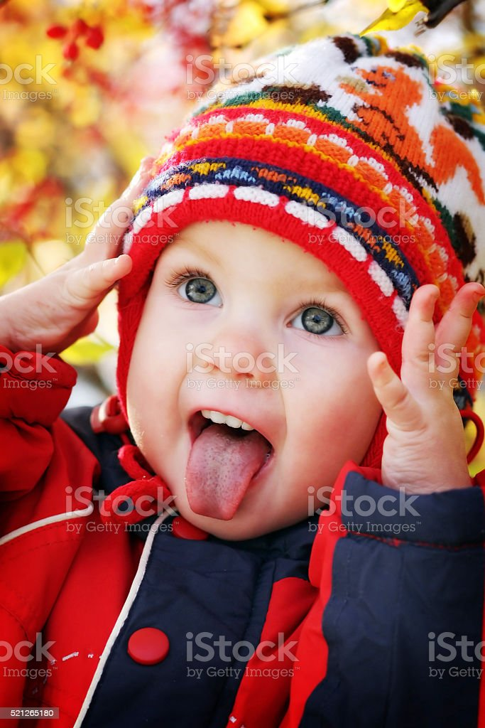 The child is emotionally Hamming stock photo