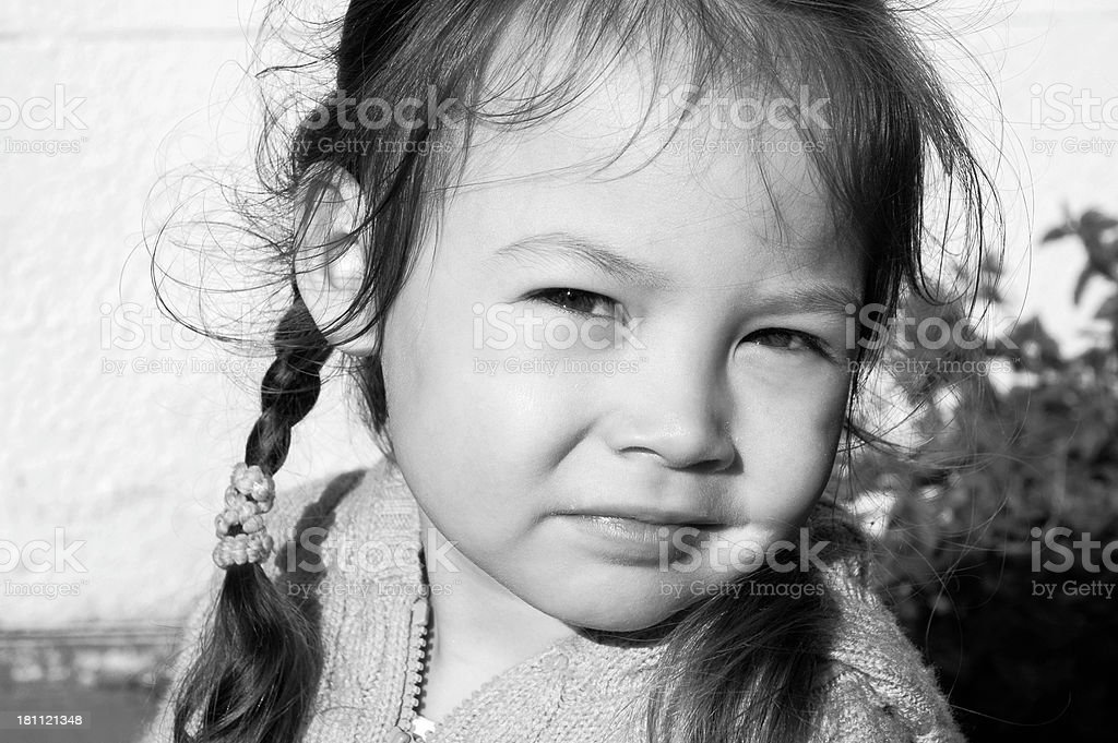 The Child Stops, Looks Up, Is Photographed royalty-free stock photo