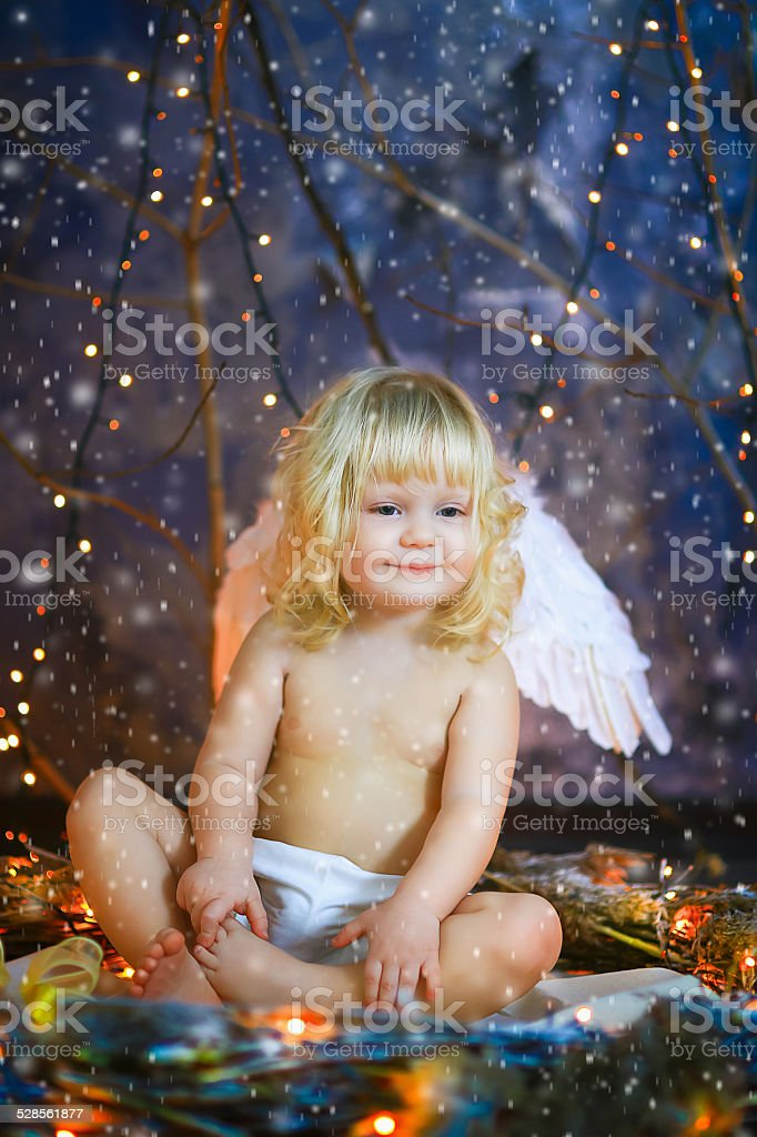 the child with wings of an angel stock photo