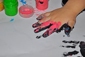 the children's hand soiled in paints