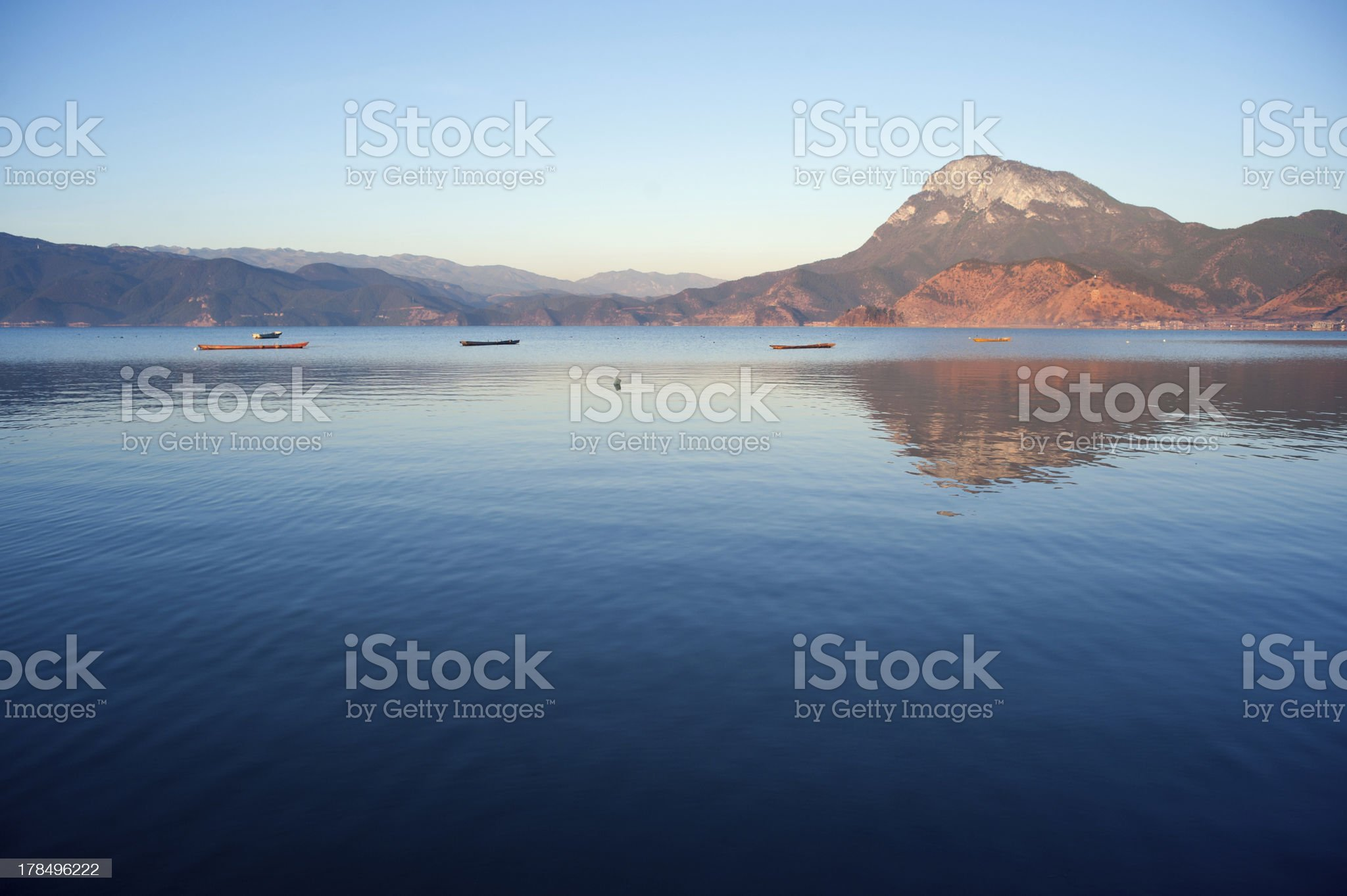 The China Yunnan morning Lugu Lake royalty-free stock photo