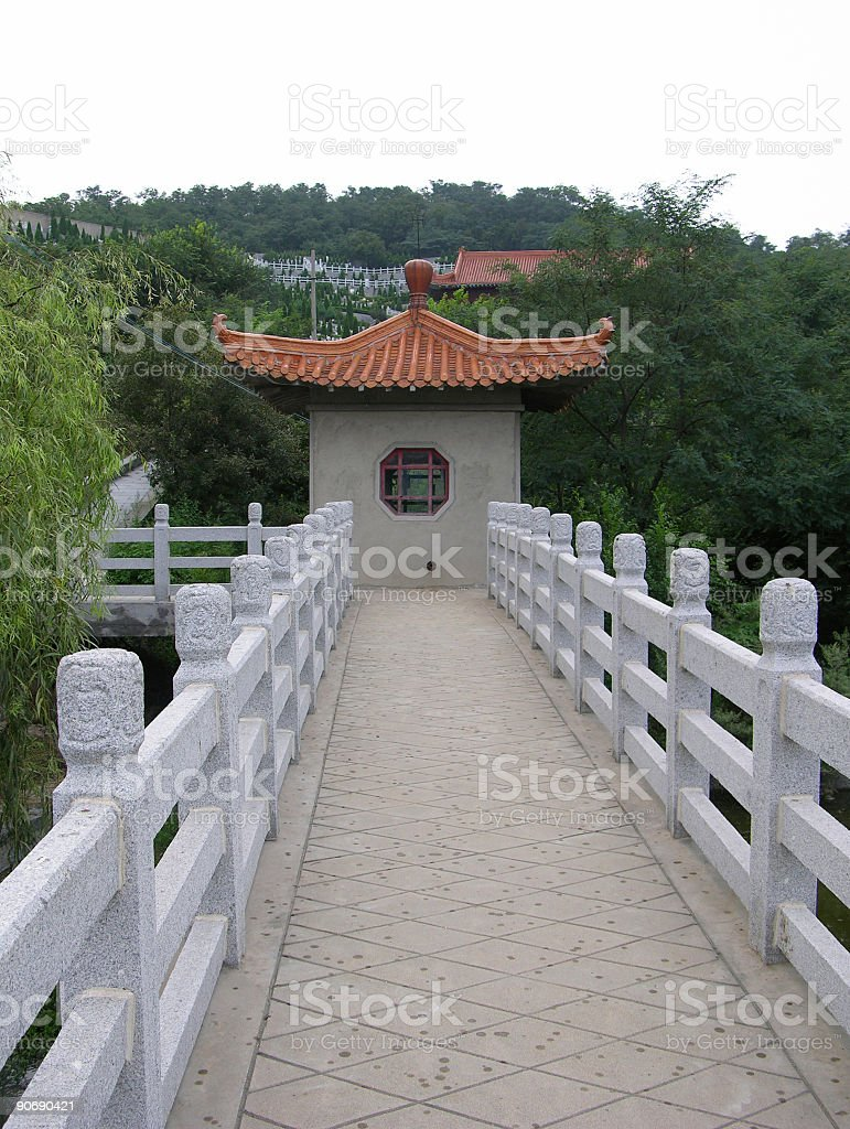The Chinese cemetery in cloudy day stock photo