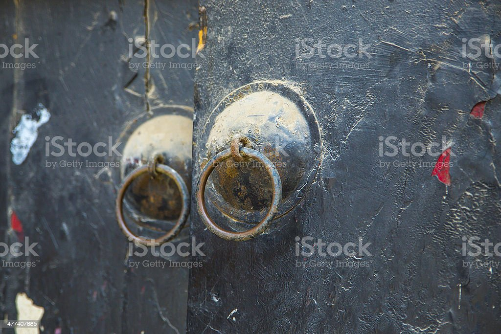The chinese door handle shabby stock photo