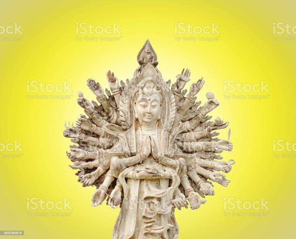 The chinese god, Guan Yin showing 1000 hands stock photo