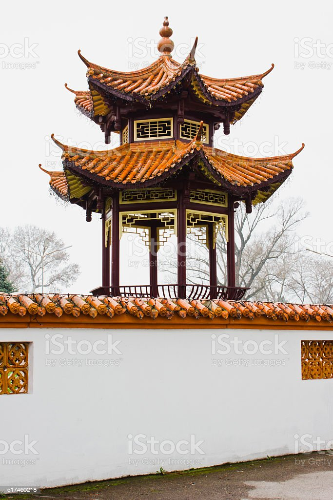 The Chinese restaurant in the city center stock photo