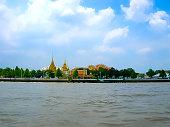 The Choapraya river and Grand Palace at Bangkok ,Thailan