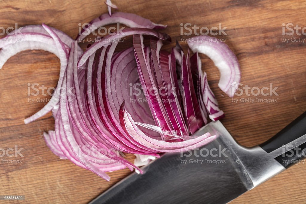 the chopped onion half-rings stock photo