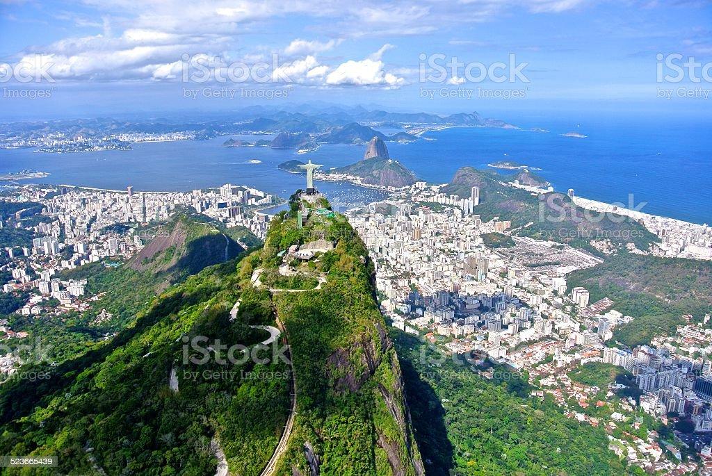 The Christ Redeemer overlooking Rio de Janeiro stock photo
