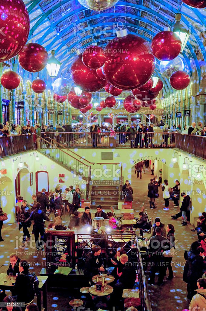 The Christmas decorations inside Covent Garden market stock photo