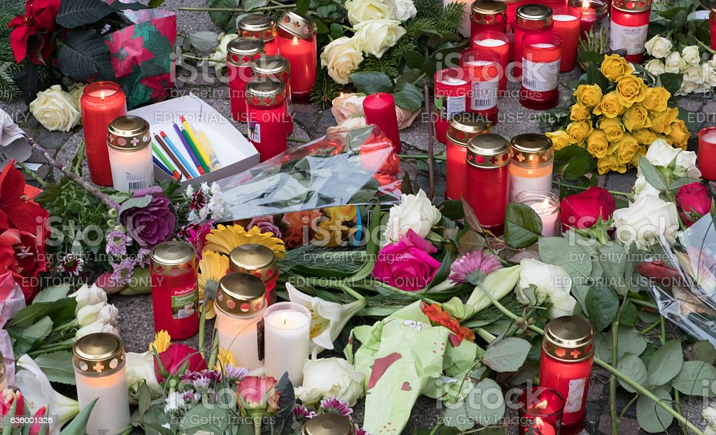 The Christmas Market in Berllin, after the terrorist attack stock photo